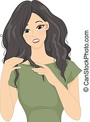 Dry Frizzy Hair - Illustration of a Girl Stressing Over Her...
