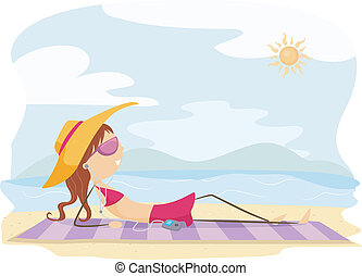 Sunbathing - Illustration of a Girl Sunbathing