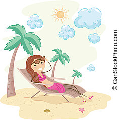 Sunbathing - Illustration of a Girl Sunbathing on the Beach