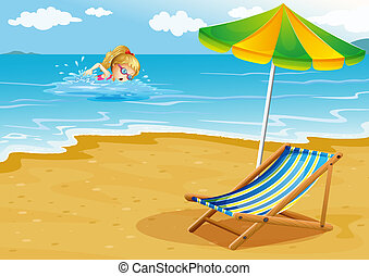 Illustration of a girl swimming at the beach with a chair and an umbrella at the shore