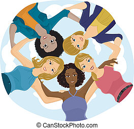 Girl Team Huddle - Illustration of a Girl Team Huddle, view...