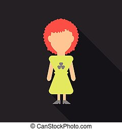 Illustration of a Girl Wearing a dress made with Clovers