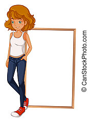 Illustration of a girl wearing a sando and a tight jeans in...