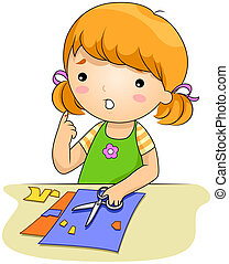 Illustration of a Girl Who Cut Her Finger with a Pair of Scissors