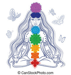 Girl with 7 chakras - Illustration of a Girl with 7 chakras...