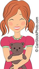 illustration of a girl with a bear.