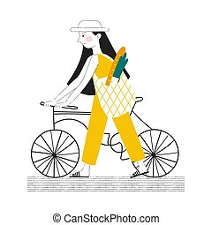 Illustration of a girl with a bicycle. Carries a bag with food.