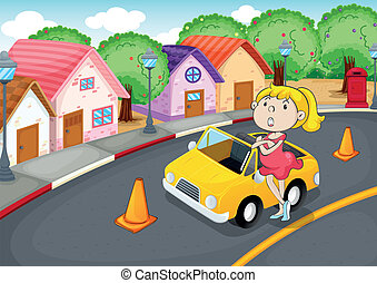a girl with car
