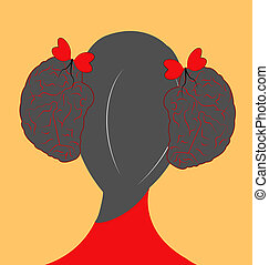 illustration of a girl with hair style as brains and ribbon as hearts