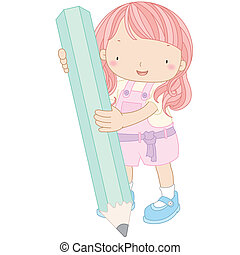 illustration of a girl with pencil