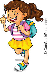 a girl with school bag