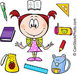 illustration of a girl with school supplies