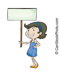 a girl with sign board