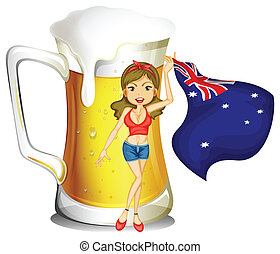 Illustration of a girl with the flag of Australia in front of the big mug of beer on a white background