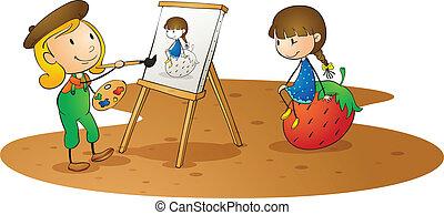 girls doing painting