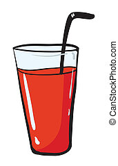 illustration of a glass and a straw on white background