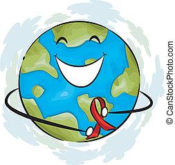 Illustration of a Globe Wearing an AIDS Awareness Ribbon