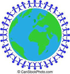 globe with people around
