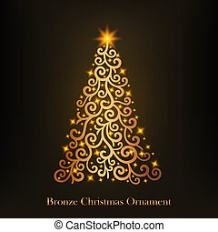 Illustration of a glowing bronze Christmas tree