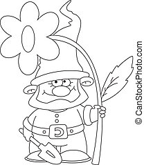 gnome and flower outlined - illustration of a gnome and...