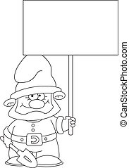 gnome with blank sign outlined