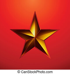 illustration of a Gold star on red.