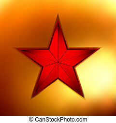 illustration of a Gold star on red. EPS 8