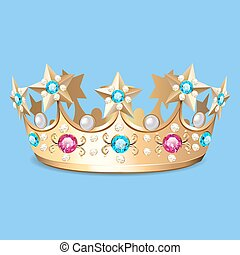 Illustration of a golden crown with pearls