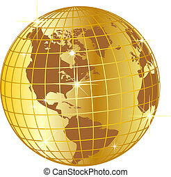 golden globe north and south america - illustration of a ...