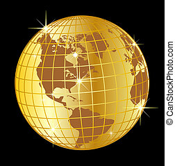 golden globe north and south america on black background -...