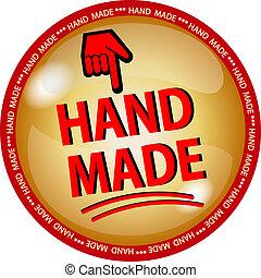 golden hande made button - illustration of a golden hande ...