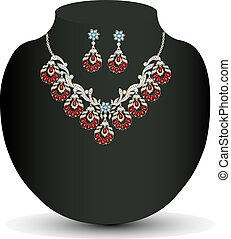 Golden necklace and earrings female with red precious stones
