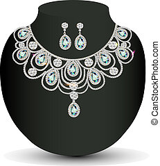 necklace and earrings female with white precious stones