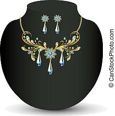Golden necklace and earrings women's wedding