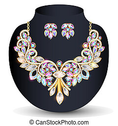 illustration of a Golden necklace and earrings women's wedding with precious stones