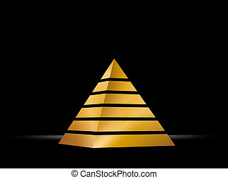 pyramid - illustration of a golden pyramid on black...