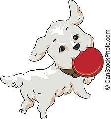 Frisbee - Illustration of a Golden Retriever Retrieving a...