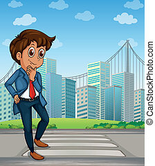 Illustration of a good-looking businessman at the pedestrian lane across the tall buildings