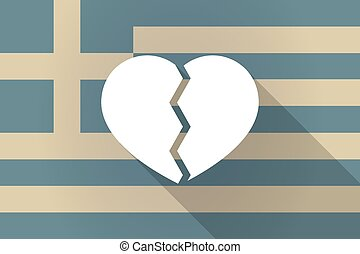 Greece  long shadow flag with a broken heart