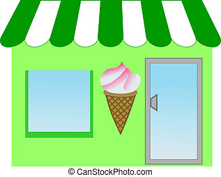 illustration of a green canopied ice cream shop