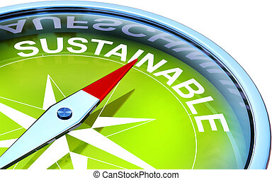 sustainable - illustration of a green compass wit a...