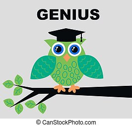 illustration of a green genius owl