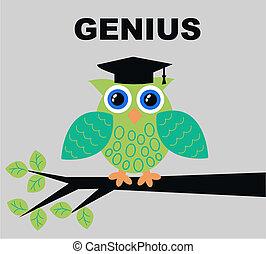 genius - illustration of a green genius owl