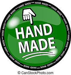 green hande made button - illustration of a green hande made...