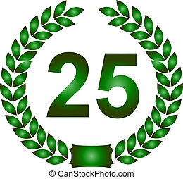 green laurel wreath 25 years - illustration of a green...
