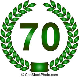 green laurel wreath 70 years - illustration of a green...