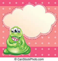 Illustration of a green monster eating a big lollipop with...