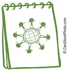 Illustration of a green notebook with a drawing of kids standing around the globe on a white background