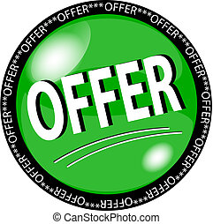 green offer button - illustration of a green offer button