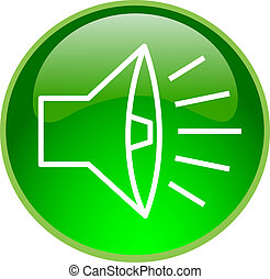 green sound button - illustration of a green sound button